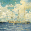 Image of French Baraue in Falmouth artwork by Henry Tuke Scott